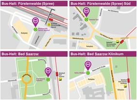 Lage der Bushaltestellen für den Ersatzverkehr der RB35