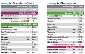 Fahrplan des Ersatzverkehrs