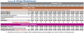 Fahrplan des Ersatzverkehrs in Richtung Königs Wusterhausen