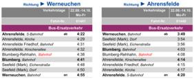 Fahrplan des Ersatzverkehrs Werneuchen - Ahrensfelde