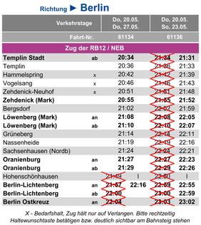 veränderte Fahrzeiten in Richtung Berlin