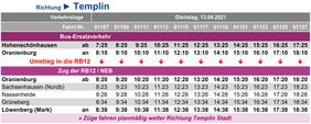 Fahrplan des Ersatzverkehrs am Di, 13.04.2021